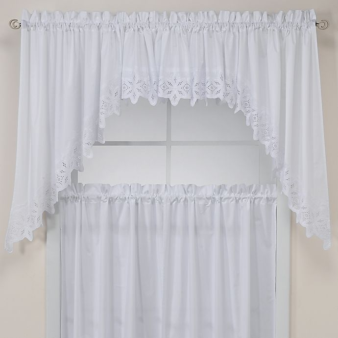 Alternate image 1 for Kaitlyn Kitchen Window Curtain Valance in White