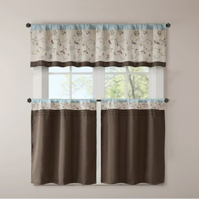 Madison Park Serene Embroidered Window Kitchen Tier And