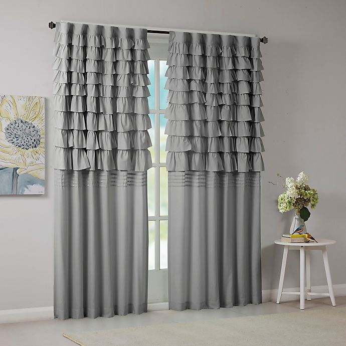 Alternate image 1 for Intelligent Design Waterfall Ruched 63-Inch Window Curtain Panel in Grey