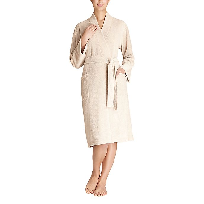 Alternate image 1 for N Natori Extra-Large Nirvana Brushed Terry Robe in Beige