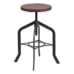 Flash Furniture Lift Wood Seat Swivel Stool in Black/Brown