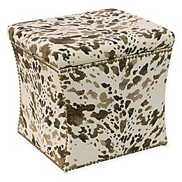 Skyline Furniture Storage Ottoman in Cow Cream