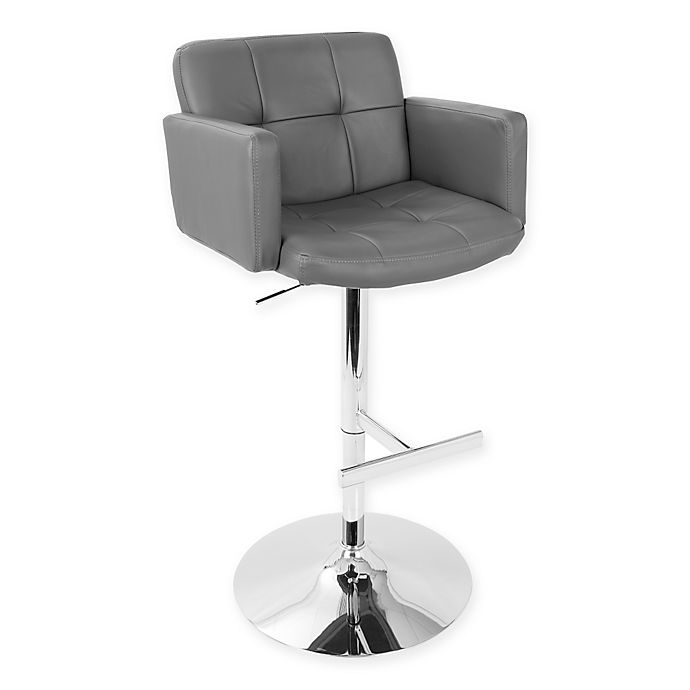 Alternate image 1 for LumiSource® Stout Adjustable Height Swivel Bar Stool in Grey