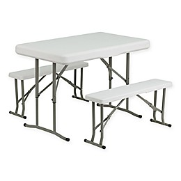 Flash Furniture 3-Piece Folding Table and Bench Set in White