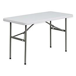 Flash Furniture Granite Folding Table in White