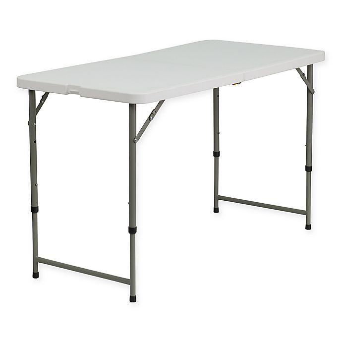 Alternate image 1 for Flash Furniture Adjustable Folding Table in White