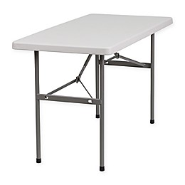 Flash Furniture 4-Foot Rectangular Folding Table in Granite White