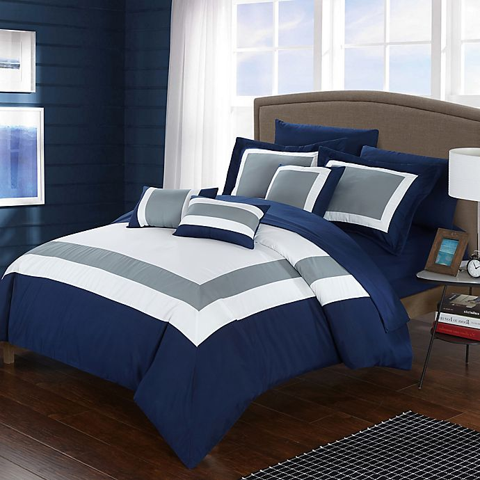 Alternate image 1 for Chic Home Dylan 10-Piece King Comforter Set in Navy