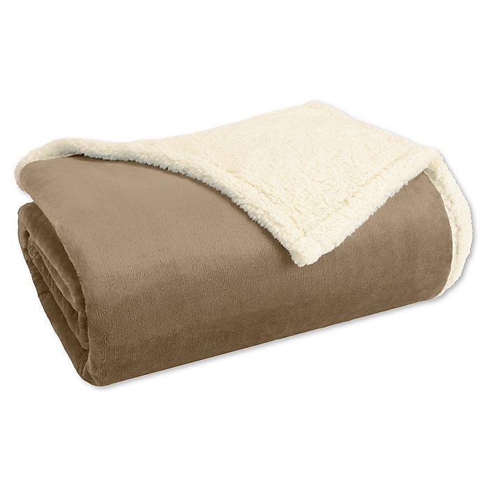 Alternate image 1 for Madison Park® Microlight to Berber Twin Blanket in Khaki