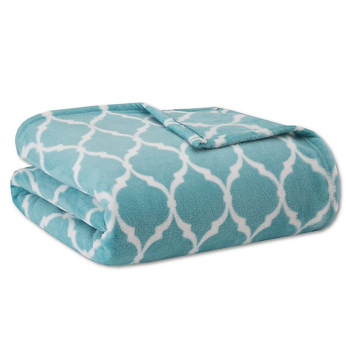 Alternate image 1 for Madison Park® Ogee Twin Blanket in Aqua