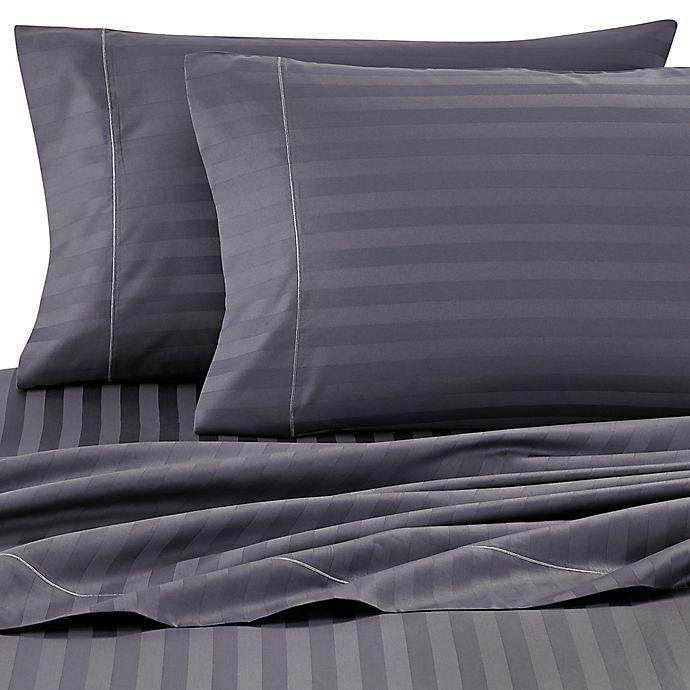 Alternate image 1 for Wamsutta® Damask Stripe 500-Thread-Count PimaCott® Queen Sheet Set in Denim