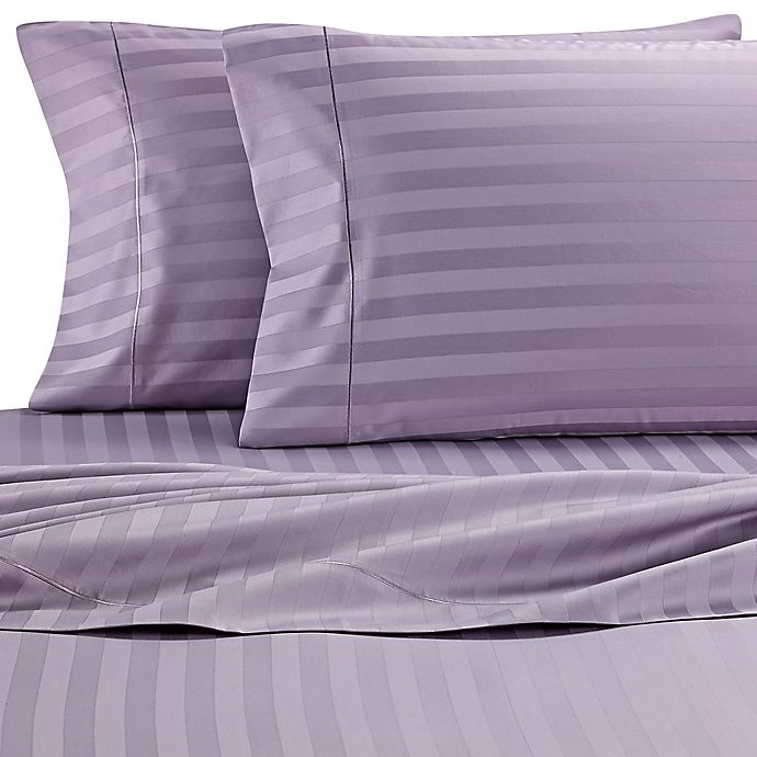 Alternate image 1 for Wamsutta® Damask Stripe 500-Thread-Count PimaCott® Queen Sheet Set in Purple