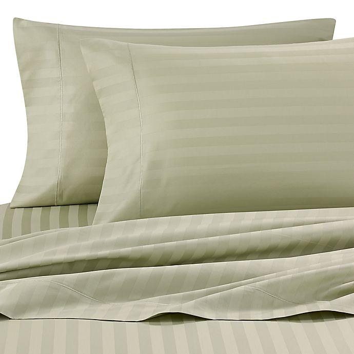 Alternate image 1 for Wamsutta® Damask Stripe 500-Thread-Count PimaCott®  King Pillowcases in Sage (Set of 2)