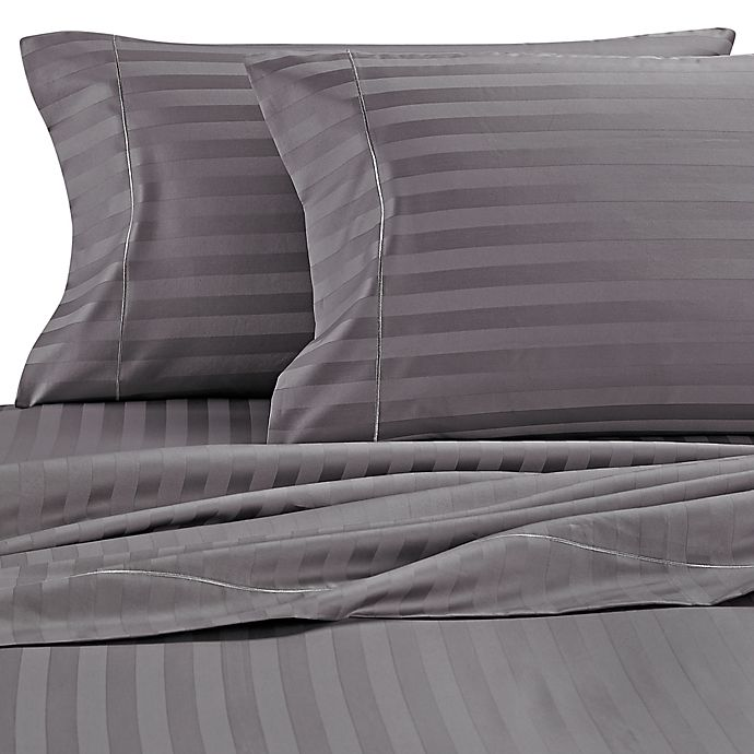 Alternate image 1 for Wamsutta® Damask Stripe 500-Thread-Count PimaCott®  Standard Pillowcases in Grey (Set of 2)