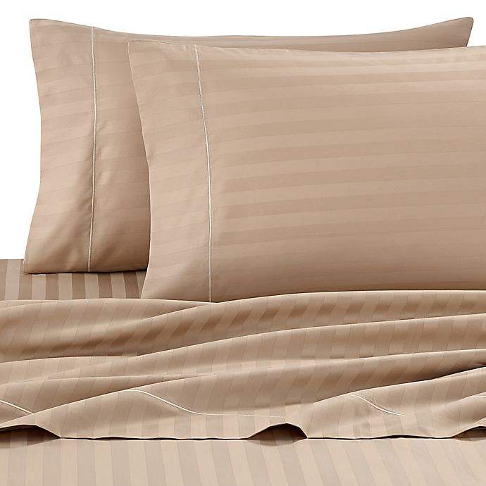 Alternate image 1 for Wamsutta® Damask Stripe 500-Thread-Count PimaCott® Full Sheet Set in Taupe