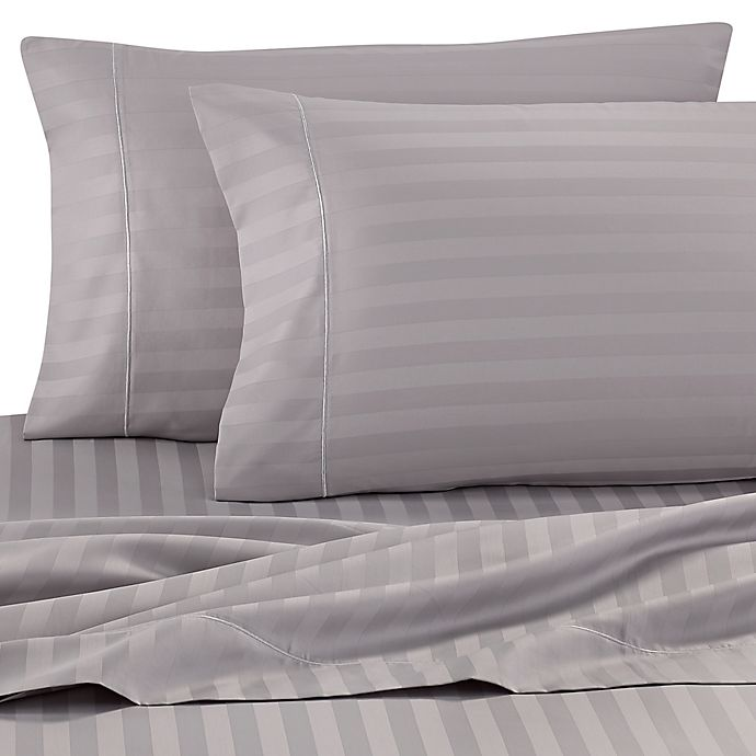 Alternate image 1 for Wamsutta® Damask Stripe 500-Thread-Count PimaCott® Twin Sheet Set in Silver