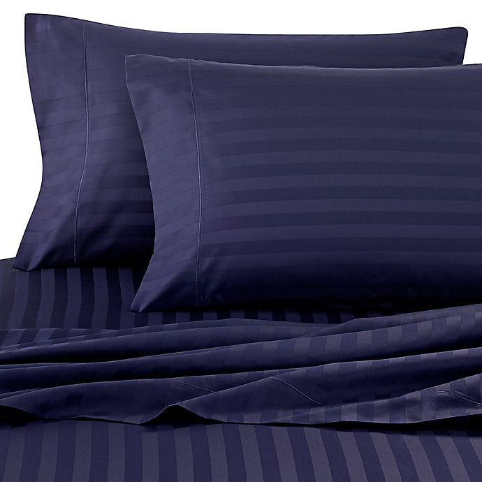 Alternate image 1 for Wamsutta® Damask Stripe 500-Thread-Count PimaCott® Queen Sheet Set in Navy