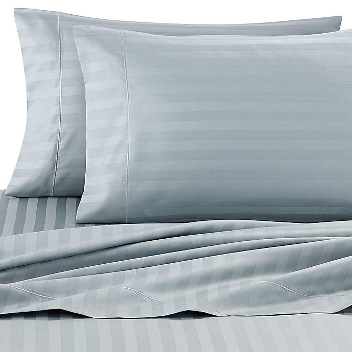 Alternate image 1 for Wamsutta® Damask Stripe 500-Thread-Count PimaCott® King Sheet Set in Aqua