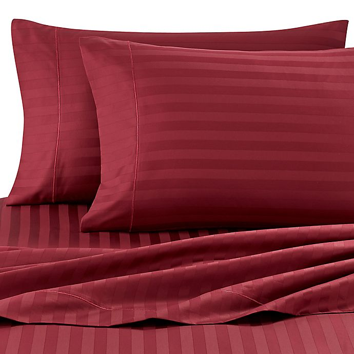 Alternate image 1 for Wamsutta® Damask Stripe 500-Thread-Count PimaCott® King Sheet Set in Burgundy