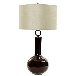 Fangio Lighting Table Lamp with White Metallic Linen Shade