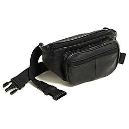 Buxton Leather Fanny Pack in Black