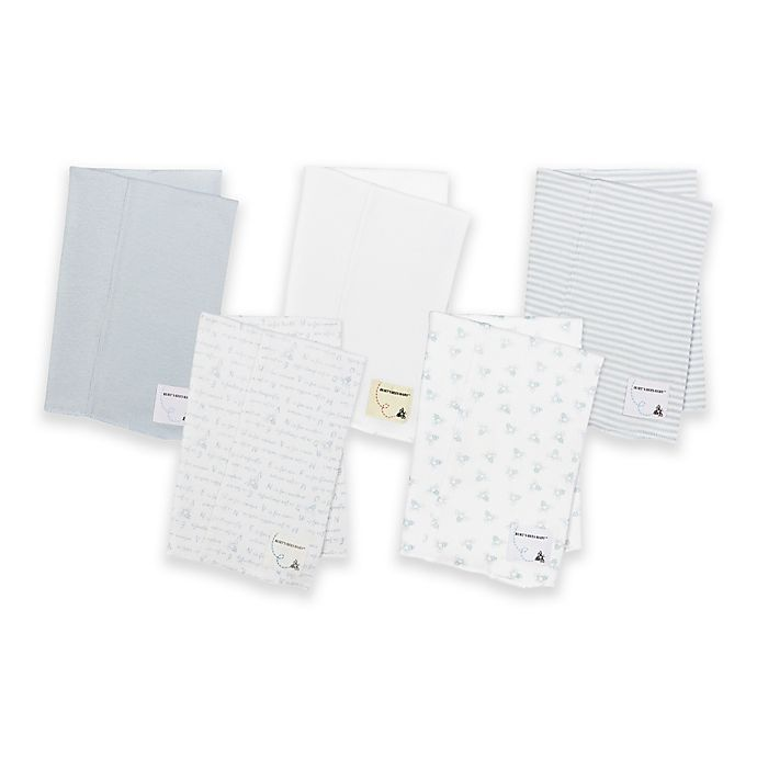 Alternate image 1 for Burt's Bees Baby® 5-Pack Organic Cotton Burp Cloths in Blue