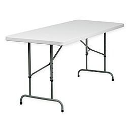 Flash Furniture 6-Foot Rectangular Folding Table in Granite White
