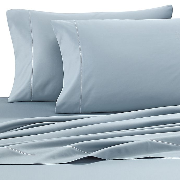Alternate image 1 for Wamsutta® Pima  500-Thread-Count Queen Sheet Set in Aqua