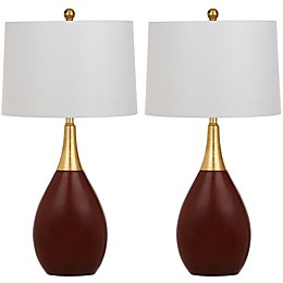 Safavieh Medallion Table Lamps in Gold/Walnut (Set of 2)