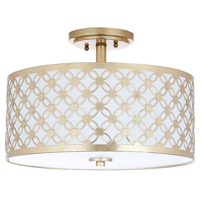Safavieh Hutch 3 Light Semi Flush Mount Ceiling Fixture In Gold Bed Bath Amp Beyond