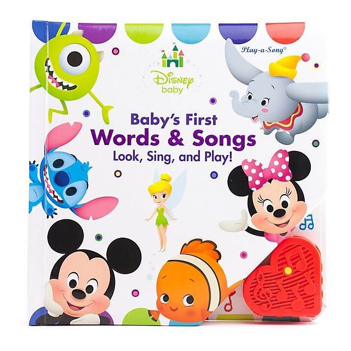 Alternate image 1 for Play-a-Song® Baby's First Words & Songs Look, Sing and Play! Board Book: Disney Baby