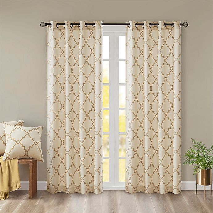 Alternate image 1 for Madison Park Saratoga Fretwork 95-Inch Window Curtain in Beige/Gold