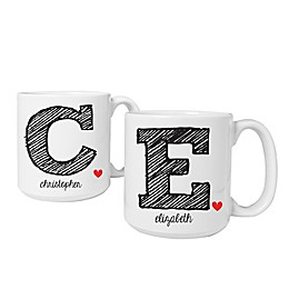 Cathy's Concepts Initial Large Ceramic Coffee Mugs (Set of 2)