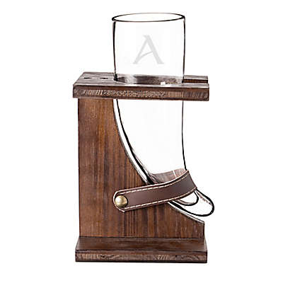 Cathy's Concepts 16 oz. Glass Viking Beer Horn with Rustic Wood Stand