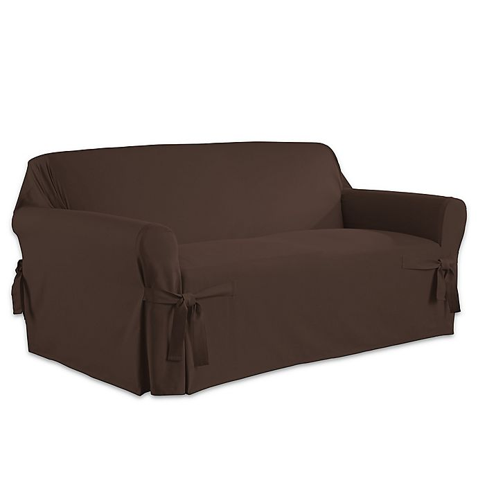 Alternate image 1 for Perfect Fit Relaxed Fit Cotton Duck Loveseat Slipcover in Chocolate