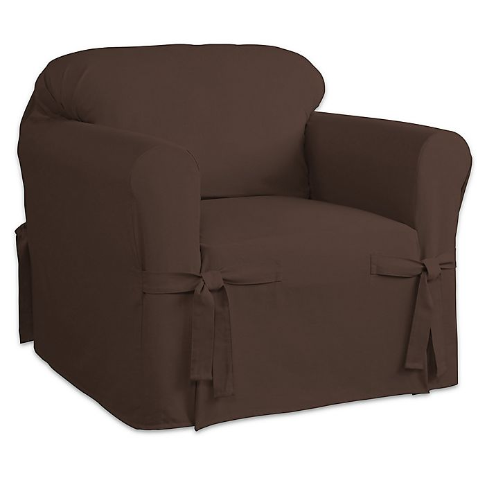 Alternate image 1 for Perfect Fit Relaxed Fit Cotton Duck Chair Slipcover in Chocolate