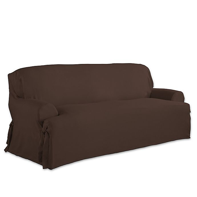 Alternate image 1 for Perfect Fit Relaxed Fit Cotton Duck T-Cushion Sofa Slipcover in Chocolate