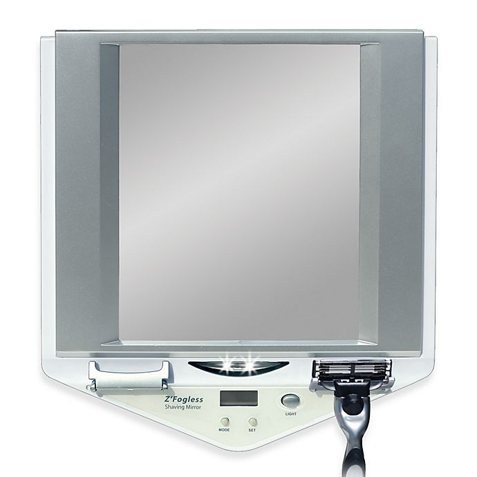 Z Fogless Led Lighted Fog Free Shower Mirror With Lcd Clock