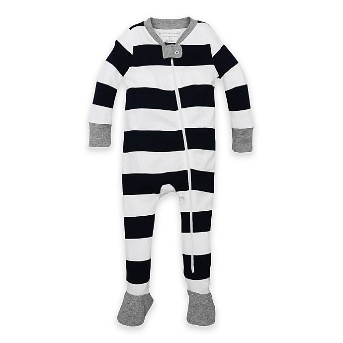 Alternate image 1 for Burt's Bees Baby® Rugby Stripe Organic Cotton Footed Pajama in Navy