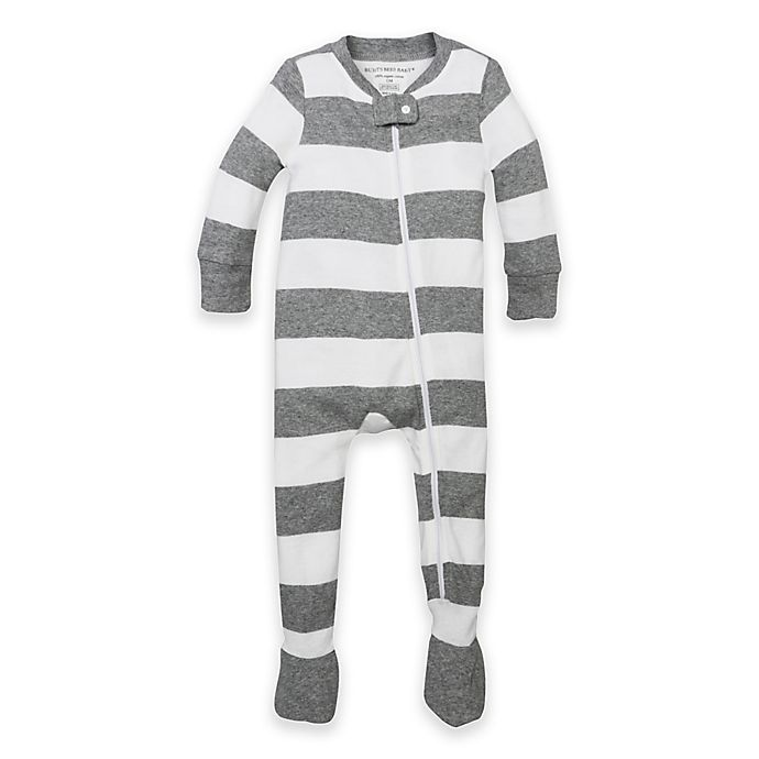 Alternate image 1 for Burt's Bees Baby® Size 12M Rugby Stripe Organic Cotton Footed Pajama in Grey
