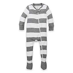 Burt's Bees Baby® Rugby Stripe Organic Cotton Footed Pajama in Grey