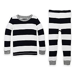 Burt's Bees Baby® 2-Piece Rugby Stripe Organic Cotton Pajama Set in Navy