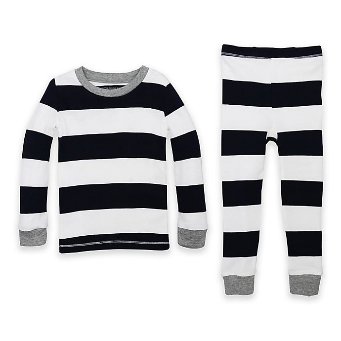 Alternate image 1 for Burt's Bees Baby® 2-Piece Rugby Stripe Organic Cotton Pajama Set in Navy