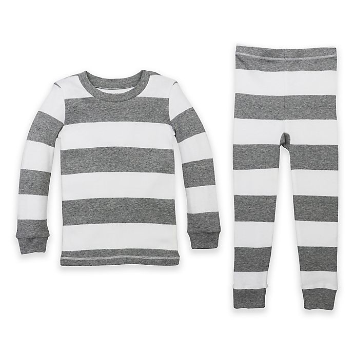 Alternate image 1 for Burt's Bees Baby® Size 4T Rugby Stripe Organic Cotton 2-Piece Pajama Set in Grey