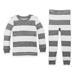 Burt's Bees Baby® Rugby Stripe Organic Cotton 2-Piece Pajama Set in Grey