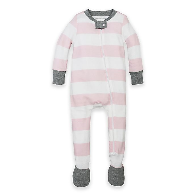Alternate image 1 for Burt's Bees Baby® Organic Cotton Rugby Stripe Footed Pajama in Pink
