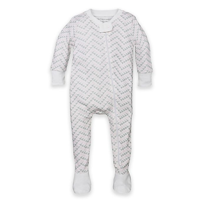 Alternate image 1 for Burt's Bees Baby® Organic Cotton Chevron Footed Pajama in Pink