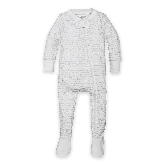 Alternate image 1 for Burt's Bees Baby® Organic Cotton Alphabet Bee Footed Pajama in Grey
