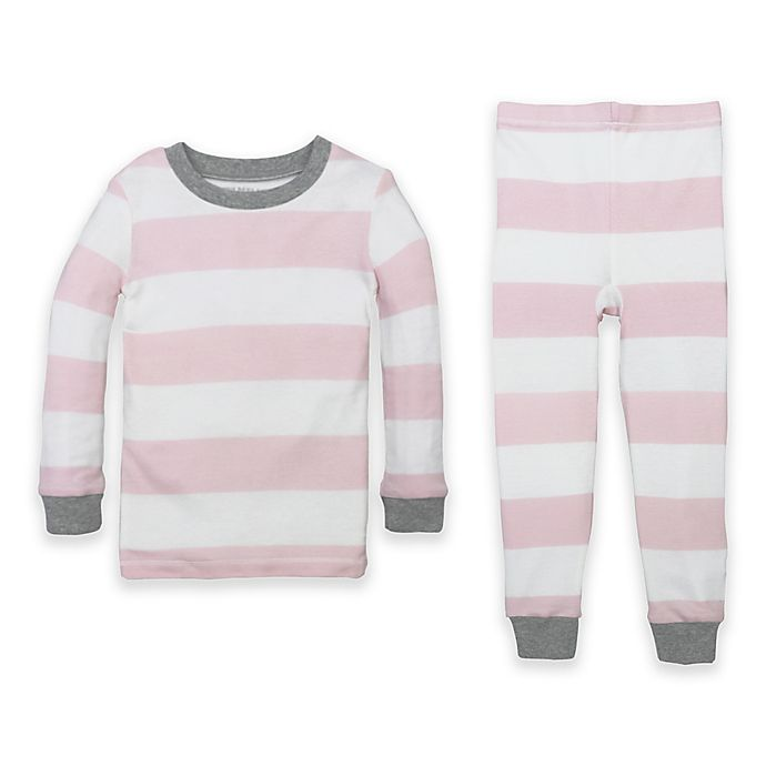 Alternate image 1 for Burt's Bees Baby® Organic Cotton Rugby Stripe PJ Set in Pink