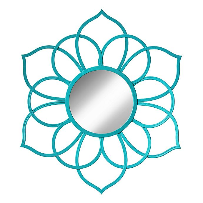 Alternate image 1 for Kate And Laurel Brienne 21-Inch x 24-Inch Round Flower Wall Mirror in Teal